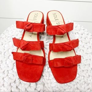 Sole Society Ezah Slide Sandal Red Suede Size 8.5M